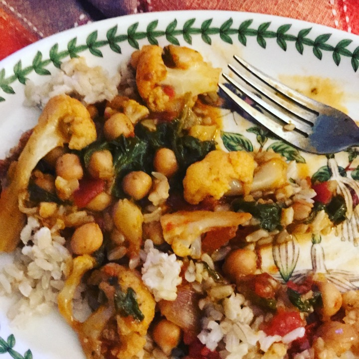 Food + Love. Chickpea,Tomato and Cauliflower Curry
